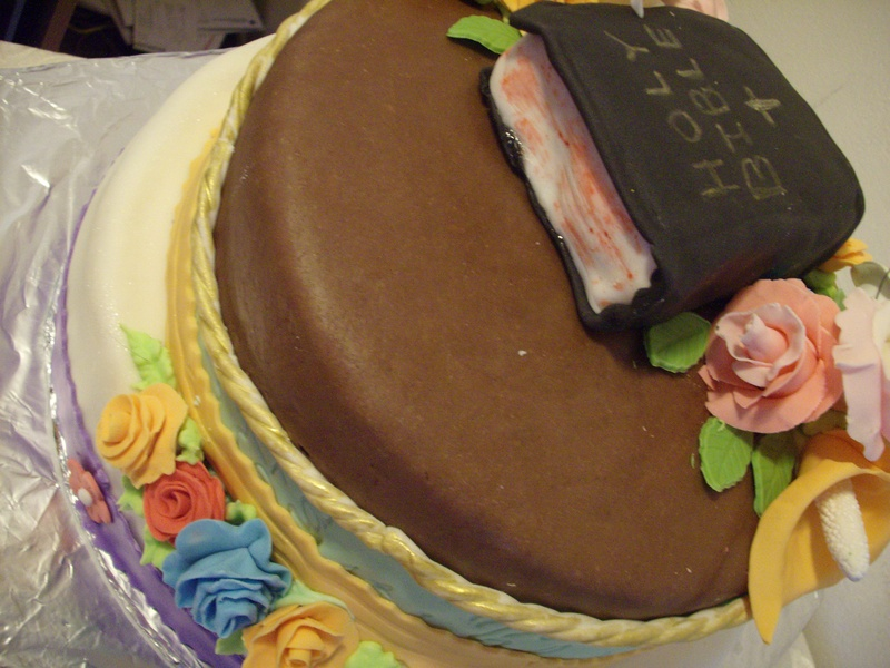 Bible Birthday Cake Back View